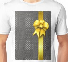 Gold Present Bow Unisex T-Shirt