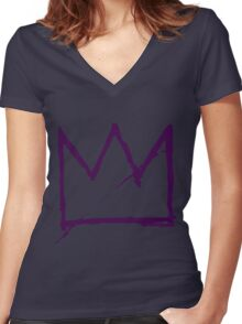 Crown (Purple) Women's Fitted V-Neck T-Shirt