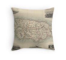 Vintage Map of Jamaica (1851) Throw Pillow