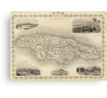 Vintage Map of Jamaica (1851) Canvas Print