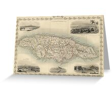 Vintage Map of Jamaica (1851) Greeting Card
