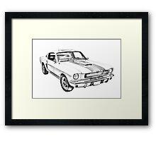 1965 GT350 Mustang Muscle Car Illustration Framed Print
