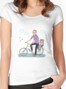 Dad with the baby go by bicycle Women's Fitted Scoop T-Shirt