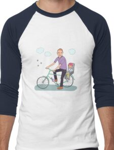 Dad with the baby go by bicycle Men's Baseball ¾ T-Shirt