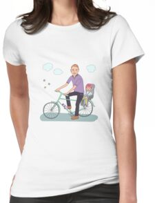 Dad with the baby go by bicycle Womens Fitted T-Shirt
