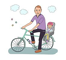 Dad with the baby go by bicycle Photographic Print