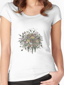 Bouquet from flowers, leaves, spirals, berries Women's Fitted Scoop T-Shirt
