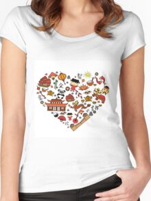 Chinese cartoon elements in heart shape Women's Fitted Scoop T-Shirt