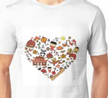 Chinese cartoon elements in heart shape Unisex T-Shirt