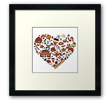 Chinese cartoon elements in heart shape Framed Print