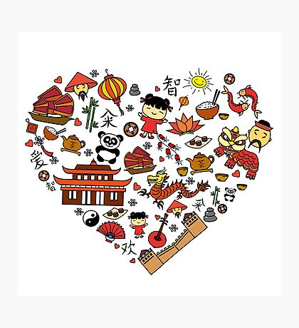 Chinese cartoon elements in heart shape Photographic Print
