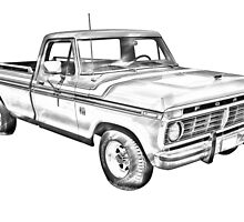 1975 Ford F100 Explorer Pickup Truck Illustrarion by KWJphotoart