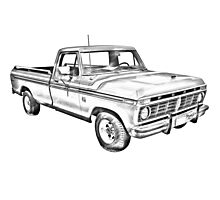 1975 Ford F100 Explorer Pickup Truck Illustrarion Photographic Print