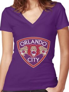 ORLANDO CITY OLD Women's Fitted V-Neck T-Shirt