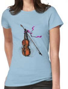 Violin & Ribbon Womens Fitted T-Shirt