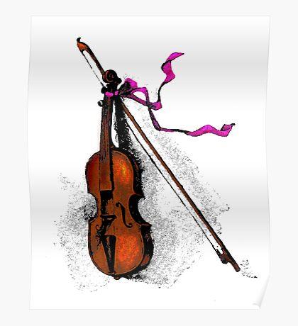 Violin & Ribbon Poster