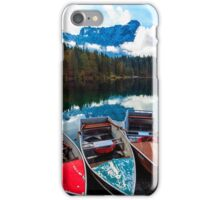 Autumn morning at the alpine lake iPhone Case/Skin
