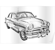 1950 Ford Custom Deluxe Classsic Car Illustration Poster