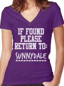 If Found, Please Return to Sunnydale Women's Fitted V-Neck T-Shirt