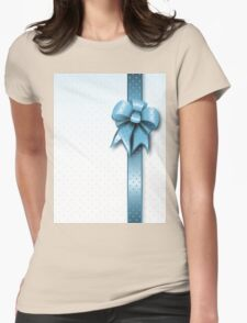 Turquoise Present Bow Womens Fitted T-Shirt