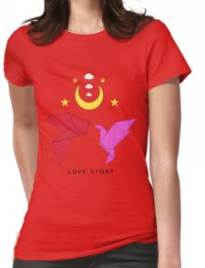 Love Story In Origami Womens Fitted T-Shirt