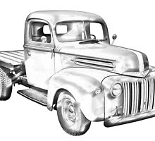 1947 Ford Flat Bed Pickup Truck Illustration by KWJphotoart