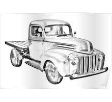 1947 Ford Flat Bed Pickup Truck Illustration Poster