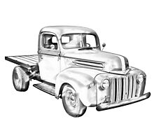 1947 Ford Flat Bed Pickup Truck Illustration Photographic Print