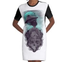 Moon Umbrella Graphic T-Shirt Dress