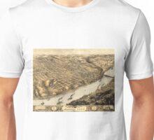 Vintage Pictorial Map of Kansas City (1869) Unisex T-Shirt