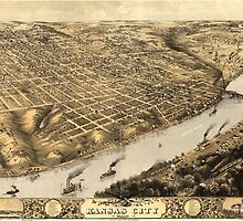 Vintage Pictorial Map of Kansas City (1869) by BravuraMedia