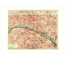 Vintage Map of Paris France (1910) Art Print