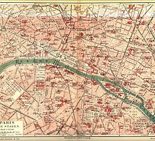 Vintage Map of Paris France (1910) by BravuraMedia