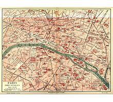 Vintage Map of Paris France (1910) Photographic Print