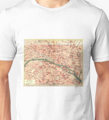 Vintage Map of Paris France (1910) Unisex T-Shirt