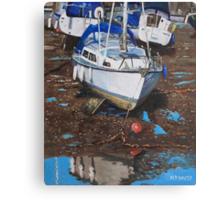 Single Boat on Eling Mudflats Canvas Print