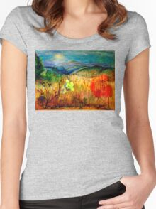 At the Edge of Dreaming Fields Women's Fitted Scoop T-Shirt