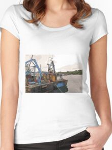 Lazy Days, Stornoway Harbour, Isle of Lewis Women's Fitted Scoop T-Shirt
