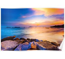 Sunset along the coast Poster