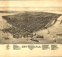 Vintage Pictorial Map of Key West FL (1884) by BravuraMedia