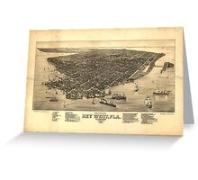 Vintage Pictorial Map of Key West FL (1884) Greeting Card