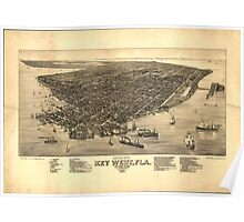 Vintage Pictorial Map of Key West FL (1884) Poster