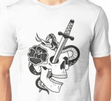 skull with dagger, snake and rose Unisex T-Shirt