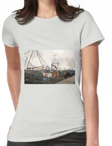 Fishing Boats at Harbour, Stornoway, Isle of Lewis Womens Fitted T-Shirt