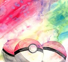 Pokeballs - watercolour by CornyMistick