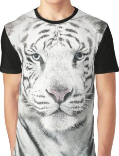 White Tiger Halftone Effect Graphic T-Shirt