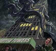 Monster Octopus attacking building in storm by martyee