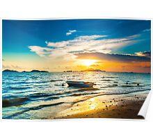 Sunset along the coast Poster