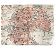 Vintage Map of Königsberg Germany (1905)  Poster