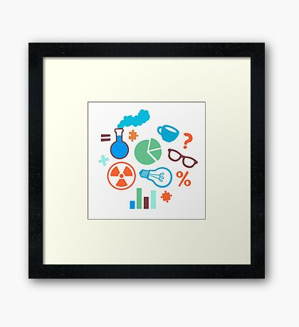Colorful Scientist Pattern Framed Print